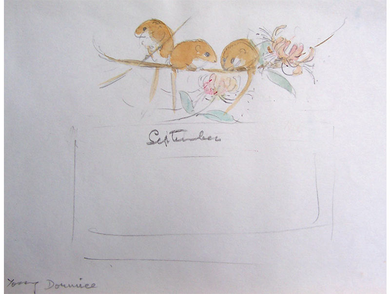 September Calendar Plate - Eileen Soper (preparatory sketch)