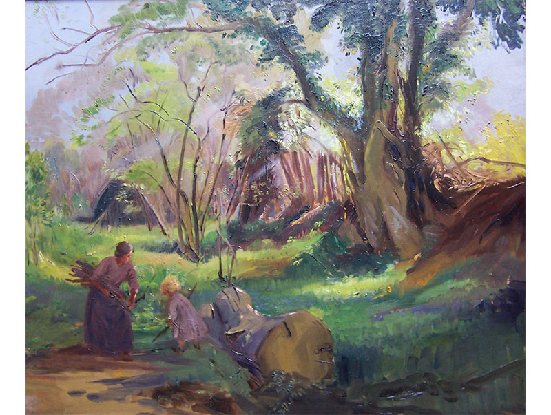 Mother and Child Gathering Wood - George Soper