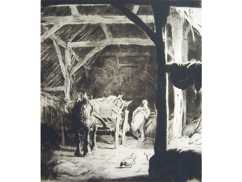 Loading Sacks in the Barn - George Soper